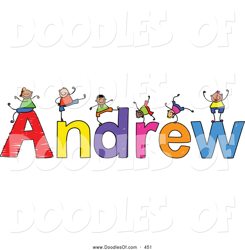 Vector Clipart of a Childs Sketch of Cute Boys Playing on.