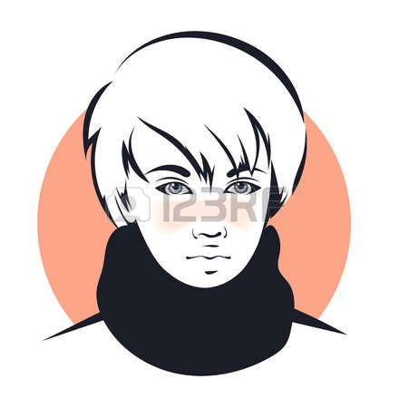 Androgynous head clipart black and white vector.