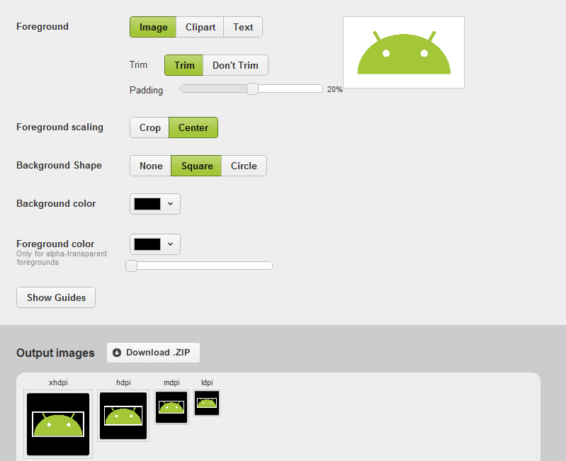 Android Code Fragments: Android Asset Studio.