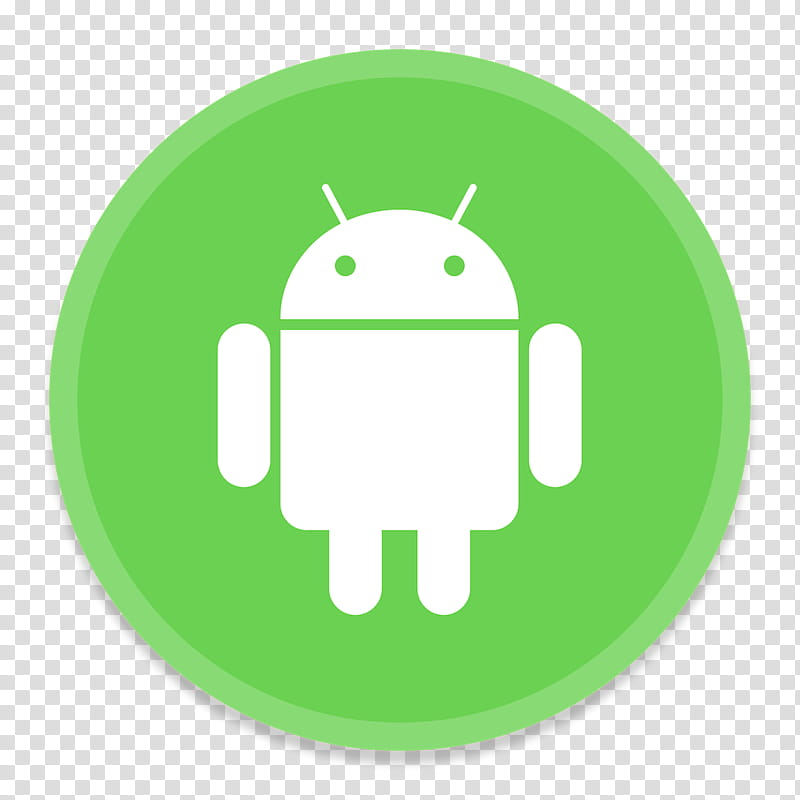 Button UI App One, green Android icon transparent background.