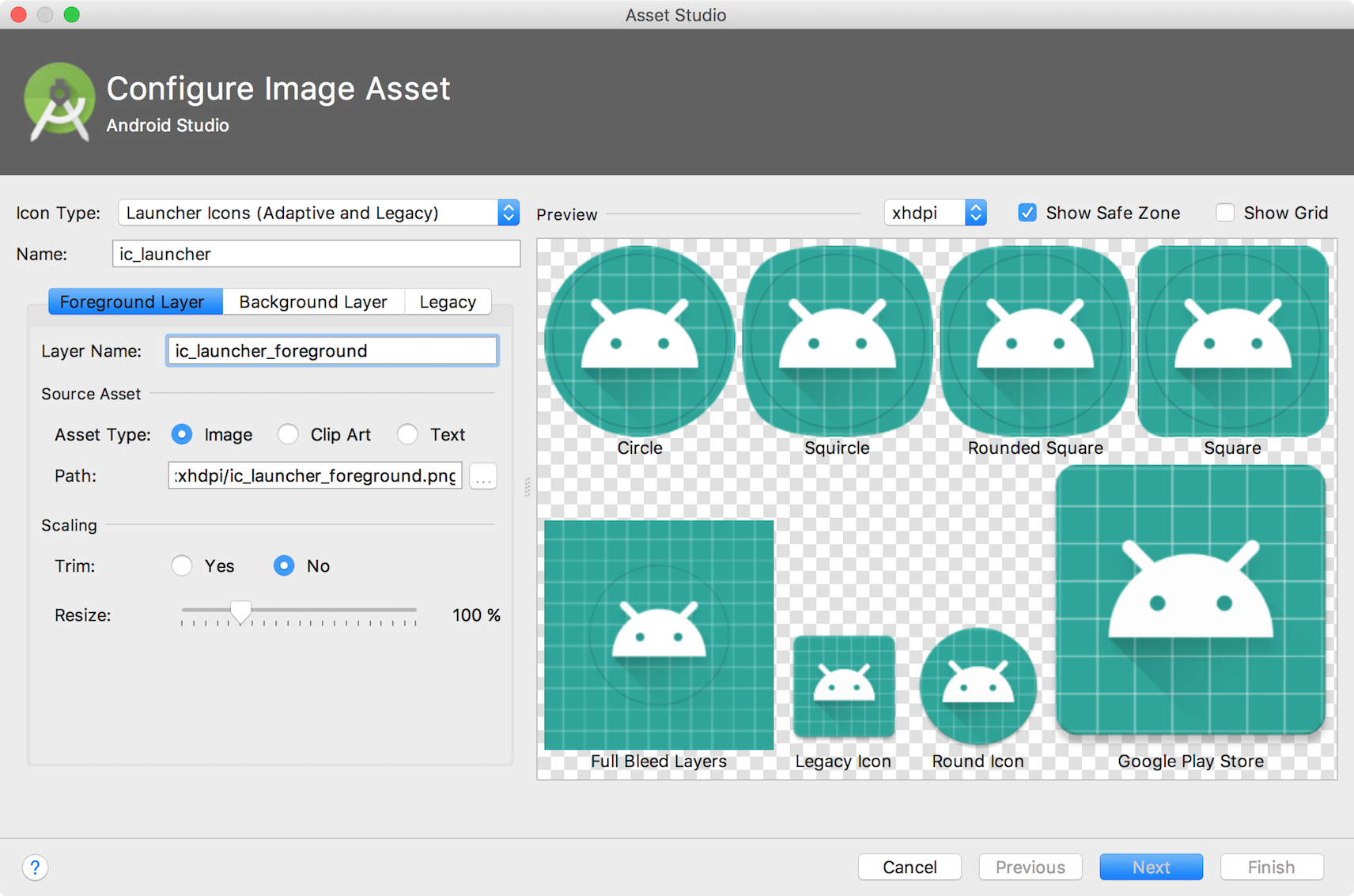 Create app icons with Image Asset Studio.