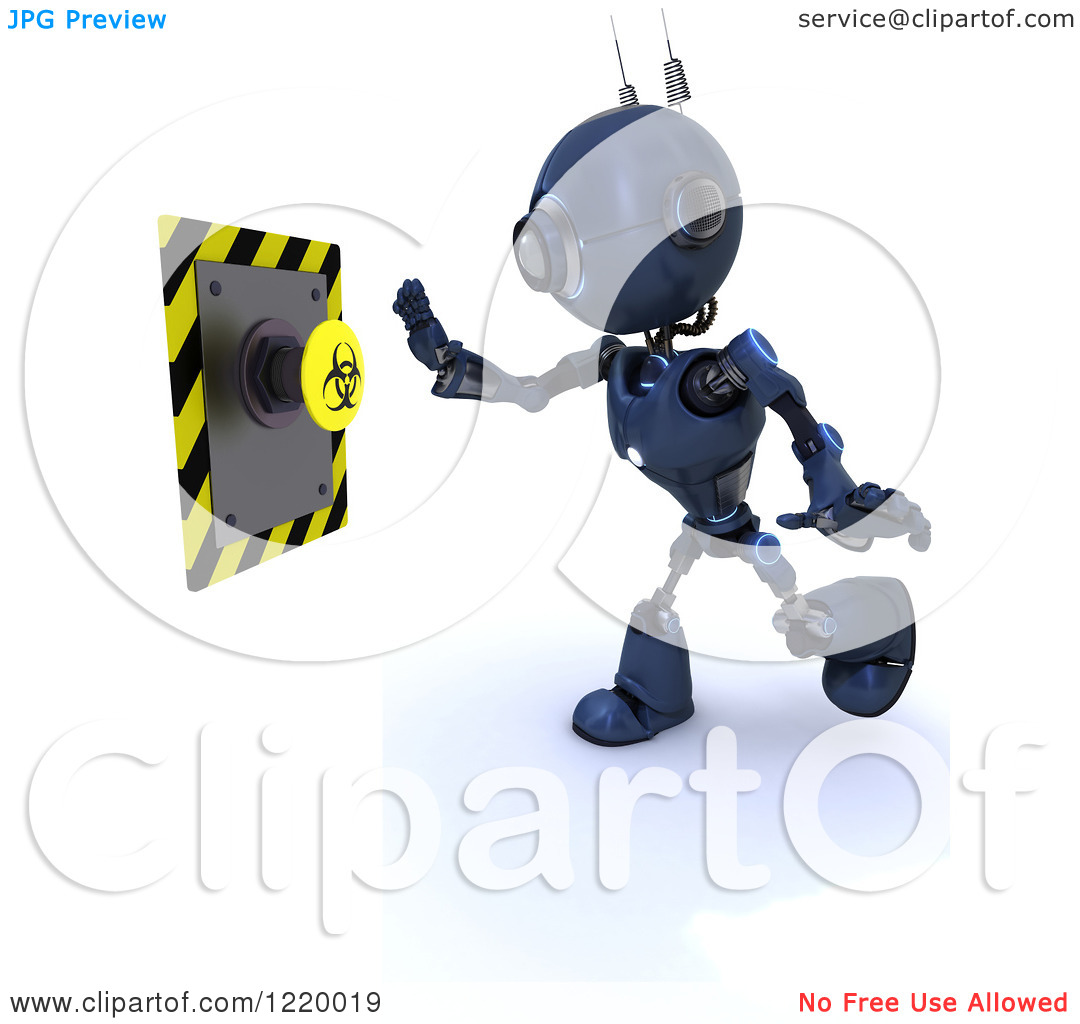 Clipart of a 3d Blue Android Robot Pushing a Biohazard Button.