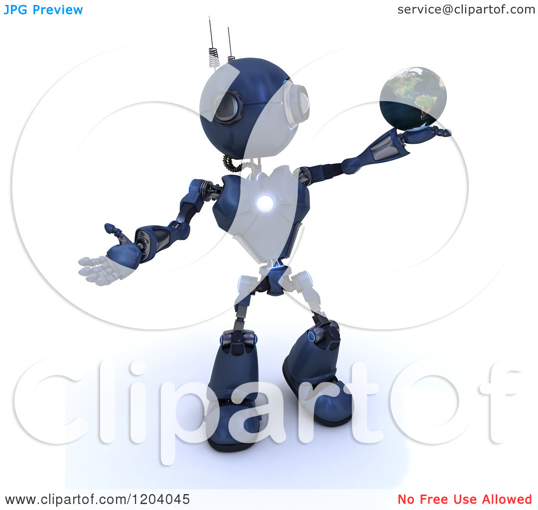 Clipart of a 3d Blue Android Robot Holding the Earth in His Hand.