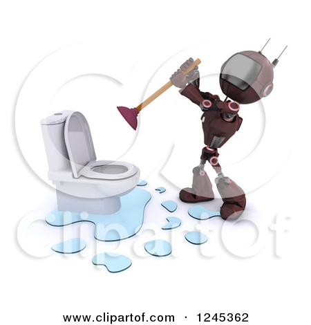 Clipart of a 3d Red Android Robot Plumber Plunging a Toilet.