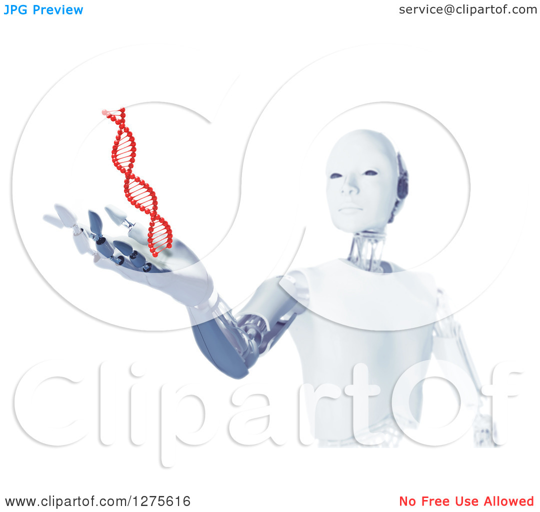 Clipart of a 3d Android Robot Holding out a Hand Under a Floating.