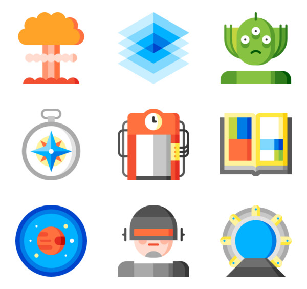 4 android robot flat icon packs.