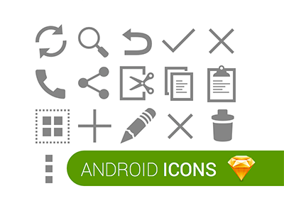 Android Icons Sketch freebie.