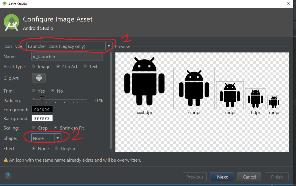 Create Launcher icon using Image Asset without background.