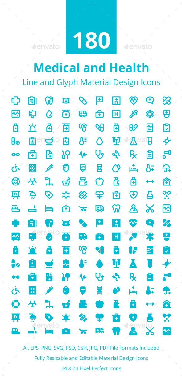 Medical and Health Material Icons.