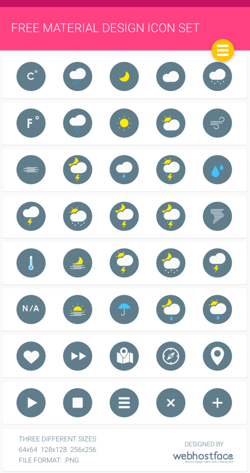 Free Google Material Design Icons Set by WebHostFace.