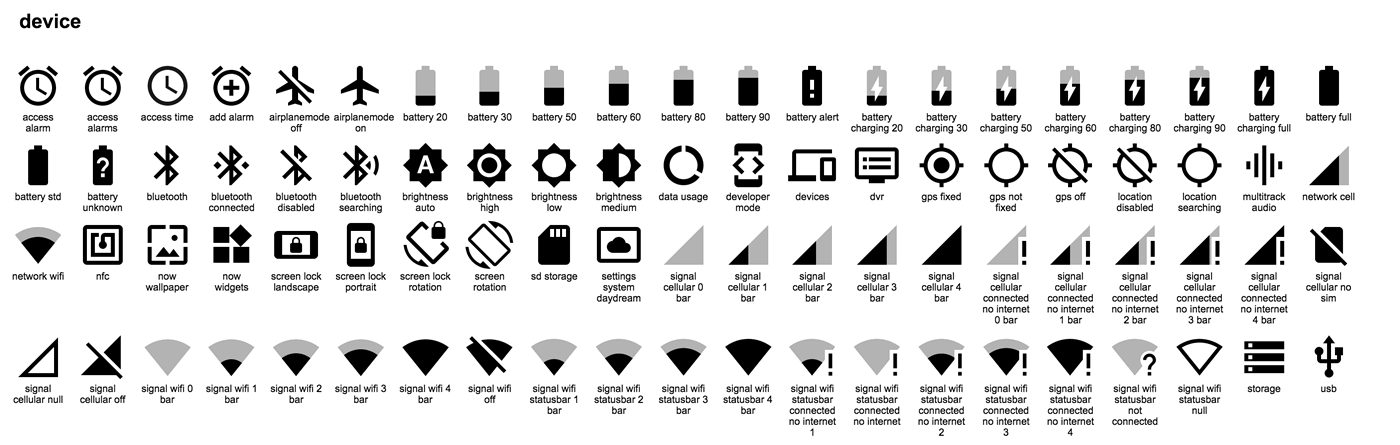 Download: 750 Material Design icons provided by Google.