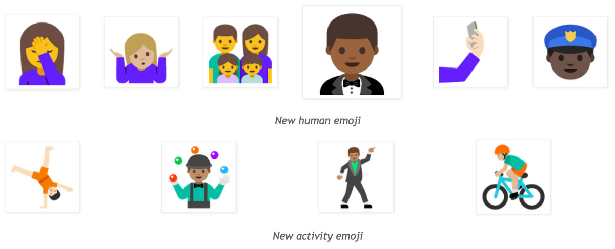Nougat changes Android's emoji to look like people.