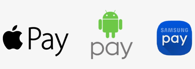 Apple Pay, Android Pay, Samsung Pay Icons.