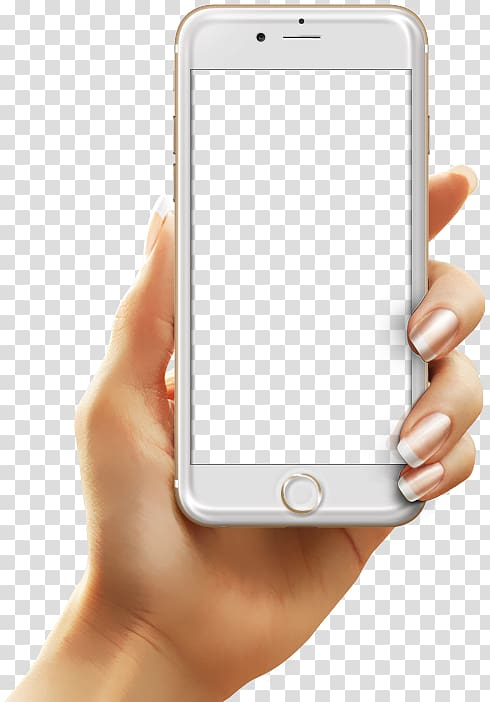 Mobile app development Android, hand holding a cell phone.