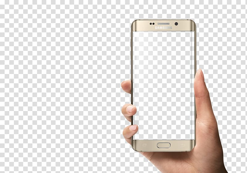 Person holding gold platinum Samsung Galaxy S6 Edge, Samsung Galaxy.