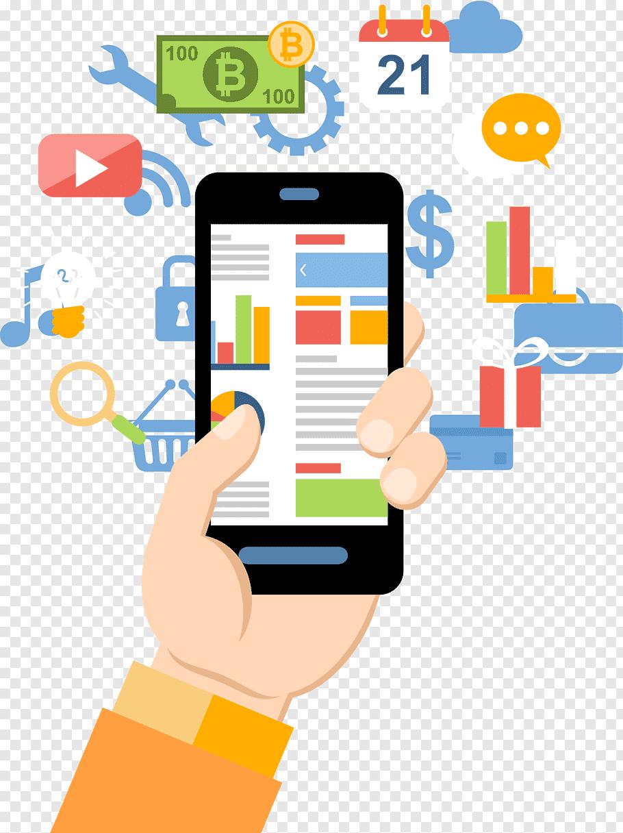 Black smartphone illustration, Web development Mobile app.