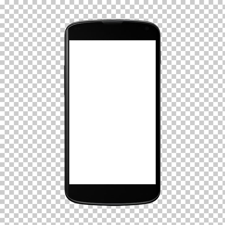 Android Mockup, black smartphone displaying white screen PNG.