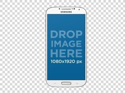 White Samsung Phone Mockup Over a PNG Background a11975.