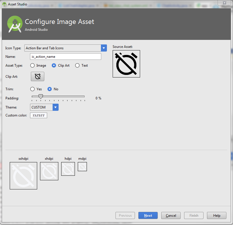 How to change icon colors in android studio.