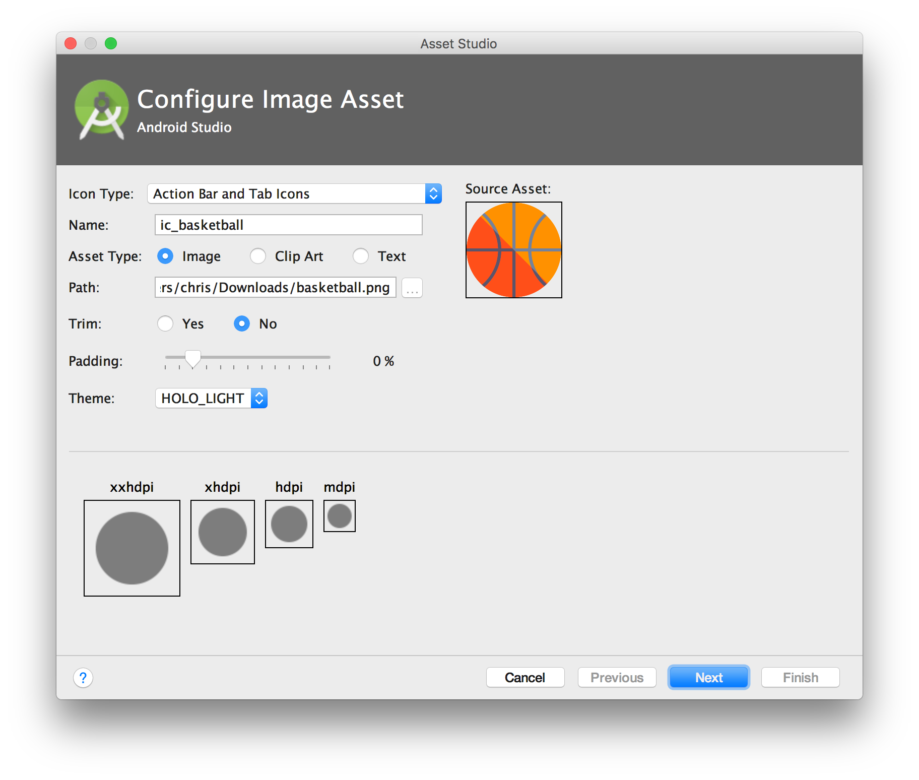 Android Studio Image Assets Not Showing Up Correctly.