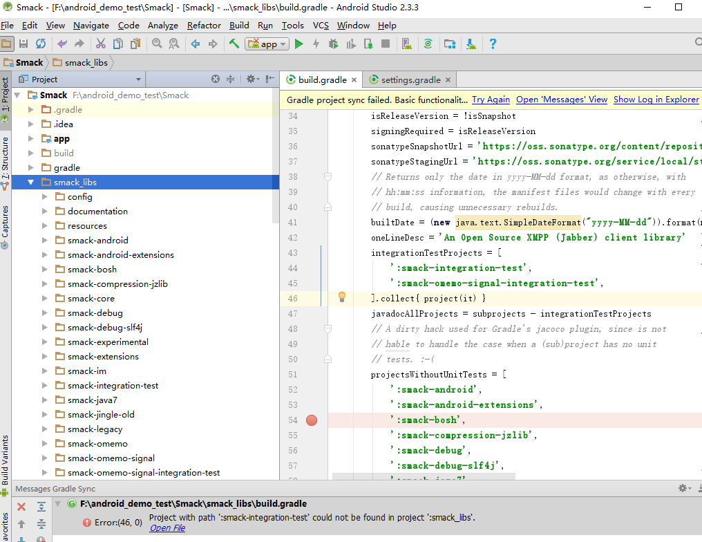 How to import smack Source code into android studio.