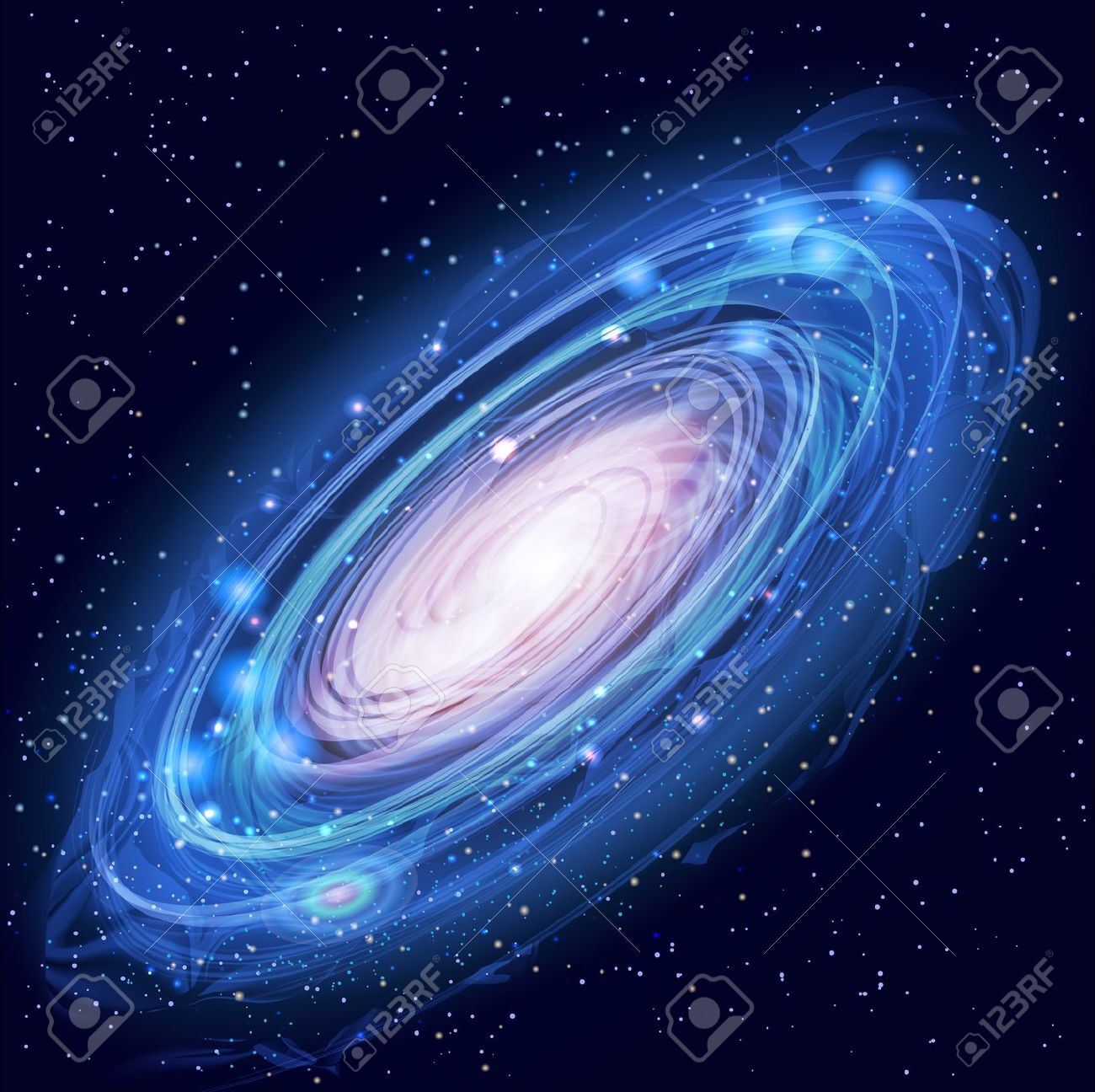 Blue Beautiful Glowing Andromeda Galaxy With Stars Royalty Free.