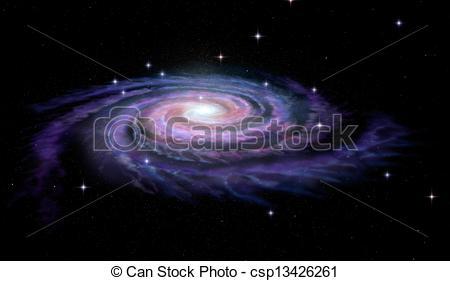 Drawing of Spiral Galaxy Milky Way csp16837343.