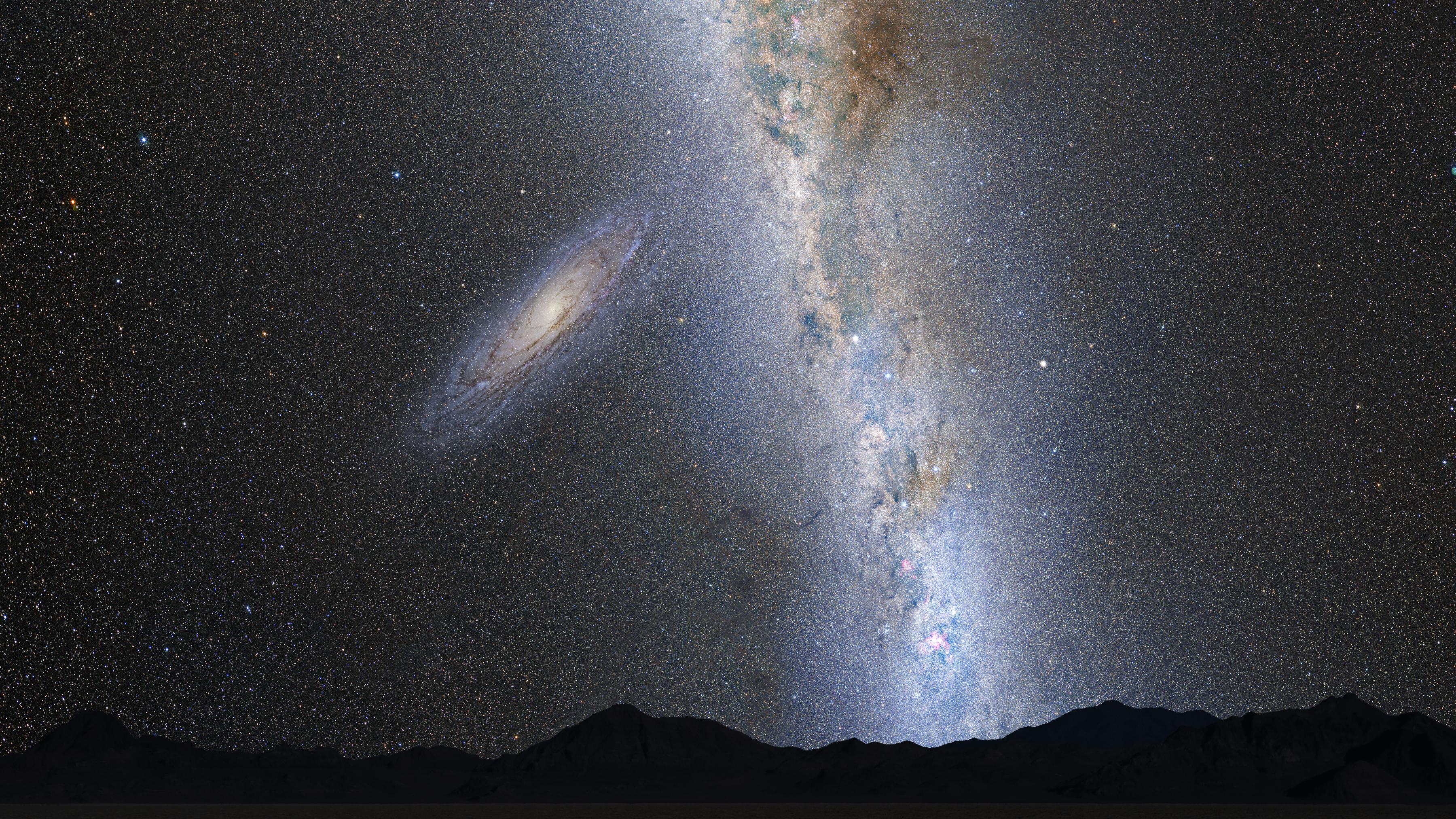 Artist's views of a night sky transformed by a galaxy merger.