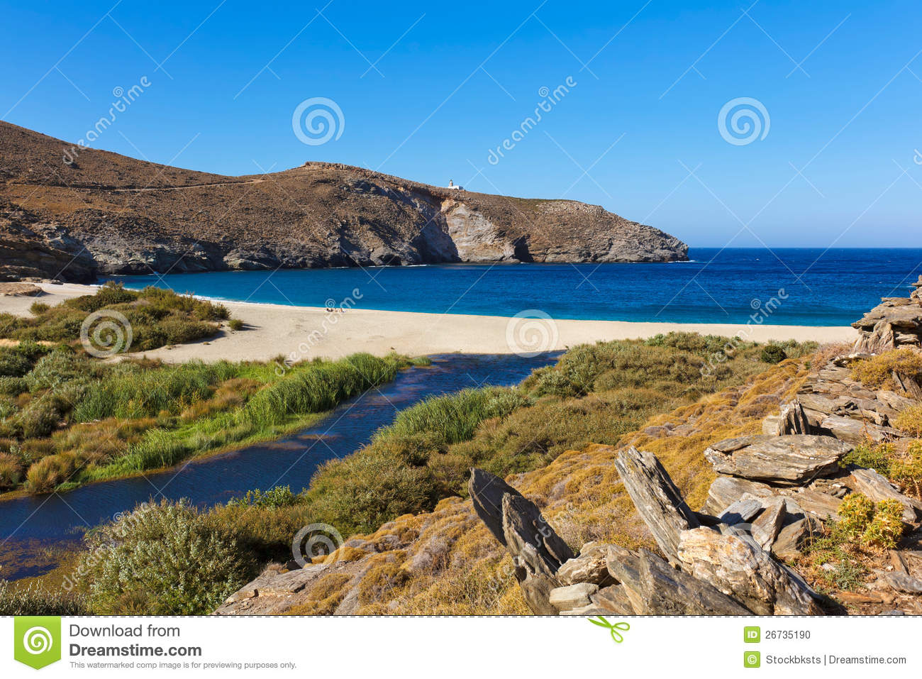 Achla Beach, Andros, Greece Stock Photo.