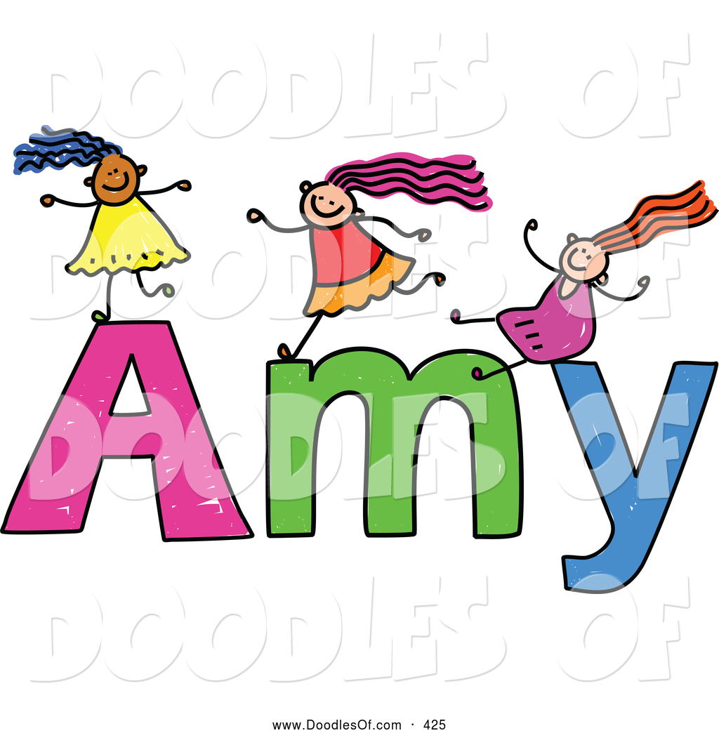 Vector Clipart of a Childs Sketch of Happy Girls Playing on.