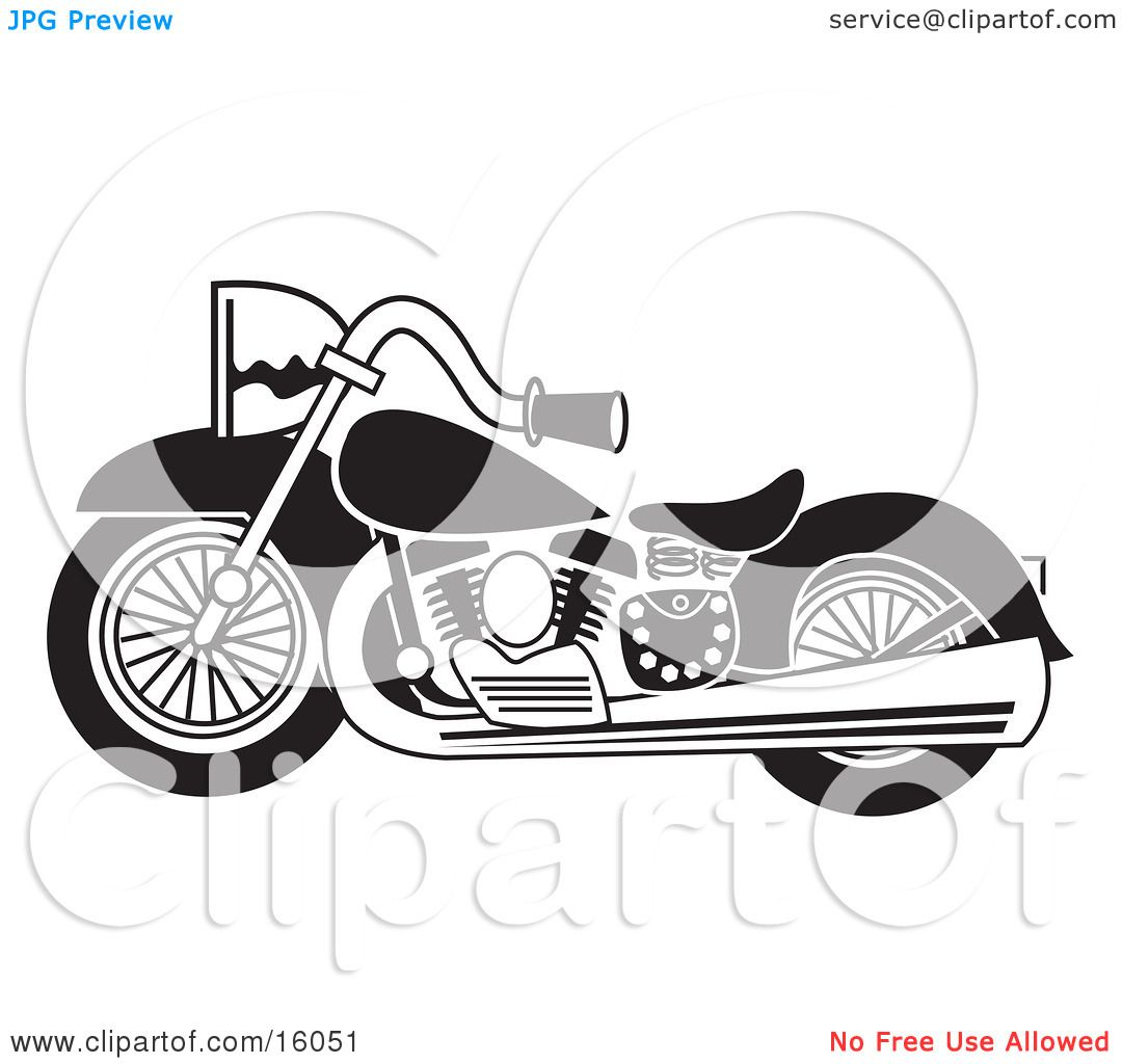 Black and White Motorcycle Clipart Illustration by Andy Nortnik #16051.