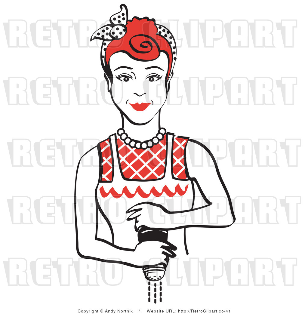 Royalty Free Vector Retro Clipart of a Housewife Grinding.