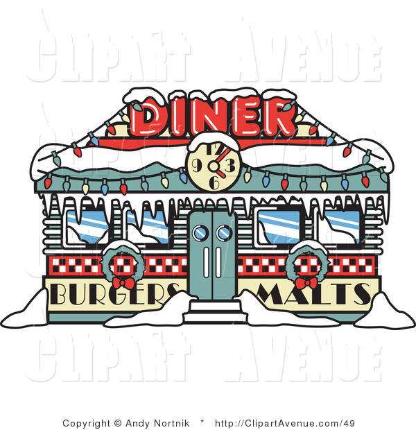 Avenue Clipart of a Retro Diner in Winter Time, Decorated in.