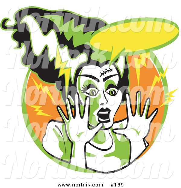 Clipart of Frankenstein\'s Bride in Cartoon or Pop Art Style.