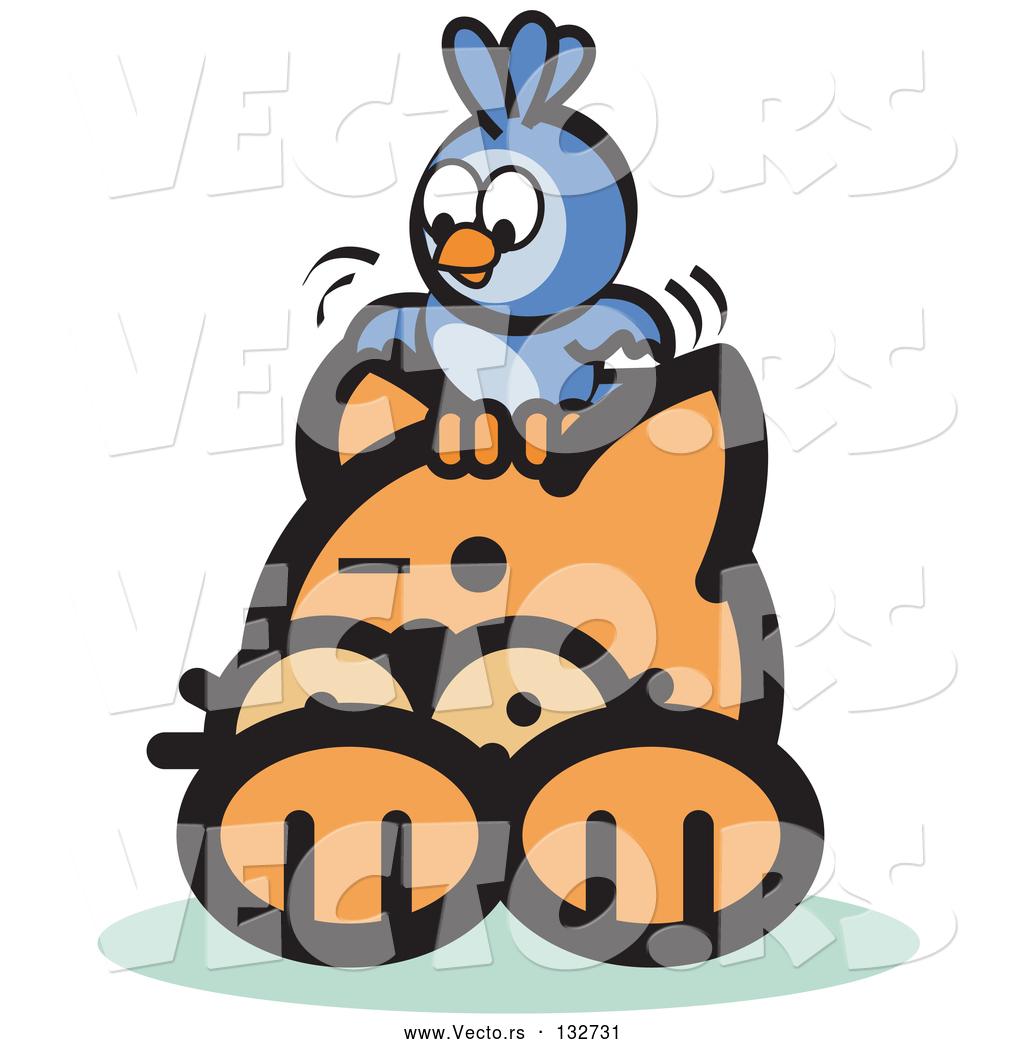 Vector of Bluebird on an Orange Cat\'s Head by Andy Nortnik.