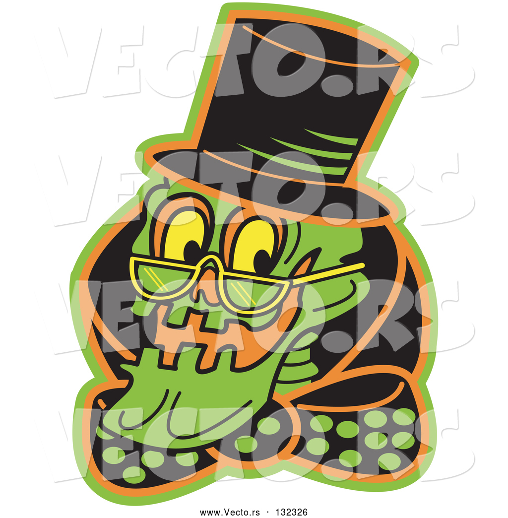 Vector of Grinning Human Skeleton Wearing a Hat, Glasses and.