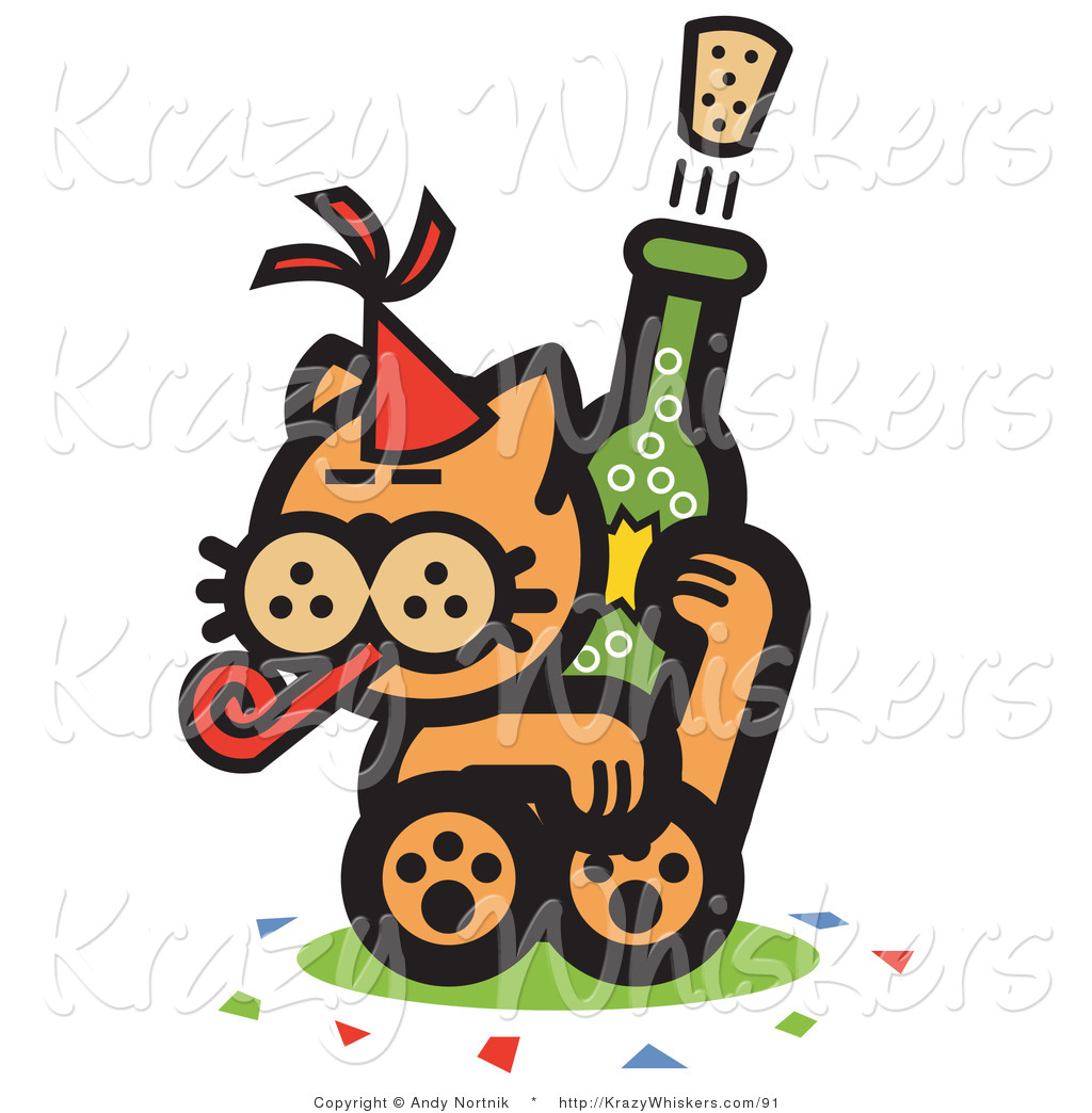 Critter Clipart of a Wild Orange Cat Wearing a Party Hat.