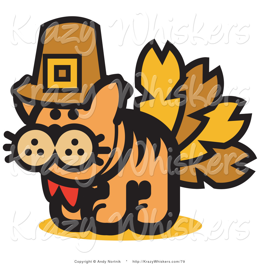 Critter Clipart of a Ginger Cat in a Pilgrim Hat Disguised.
