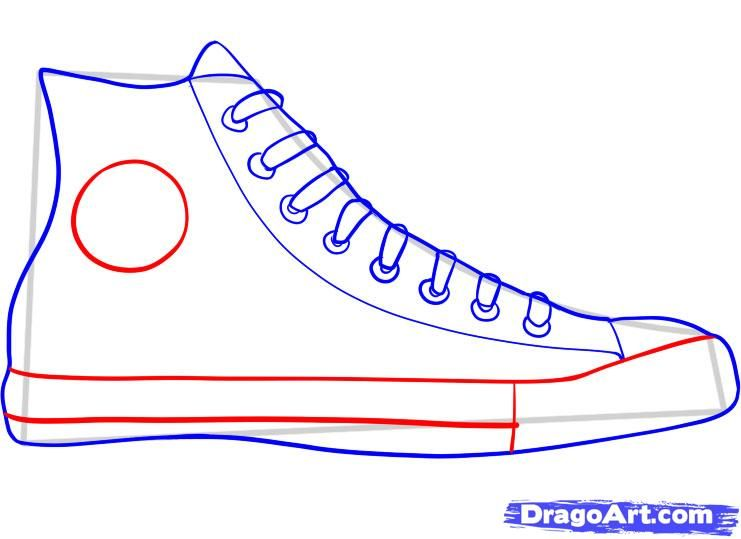 how to draw converse, how to draw chuck taylors step 5.