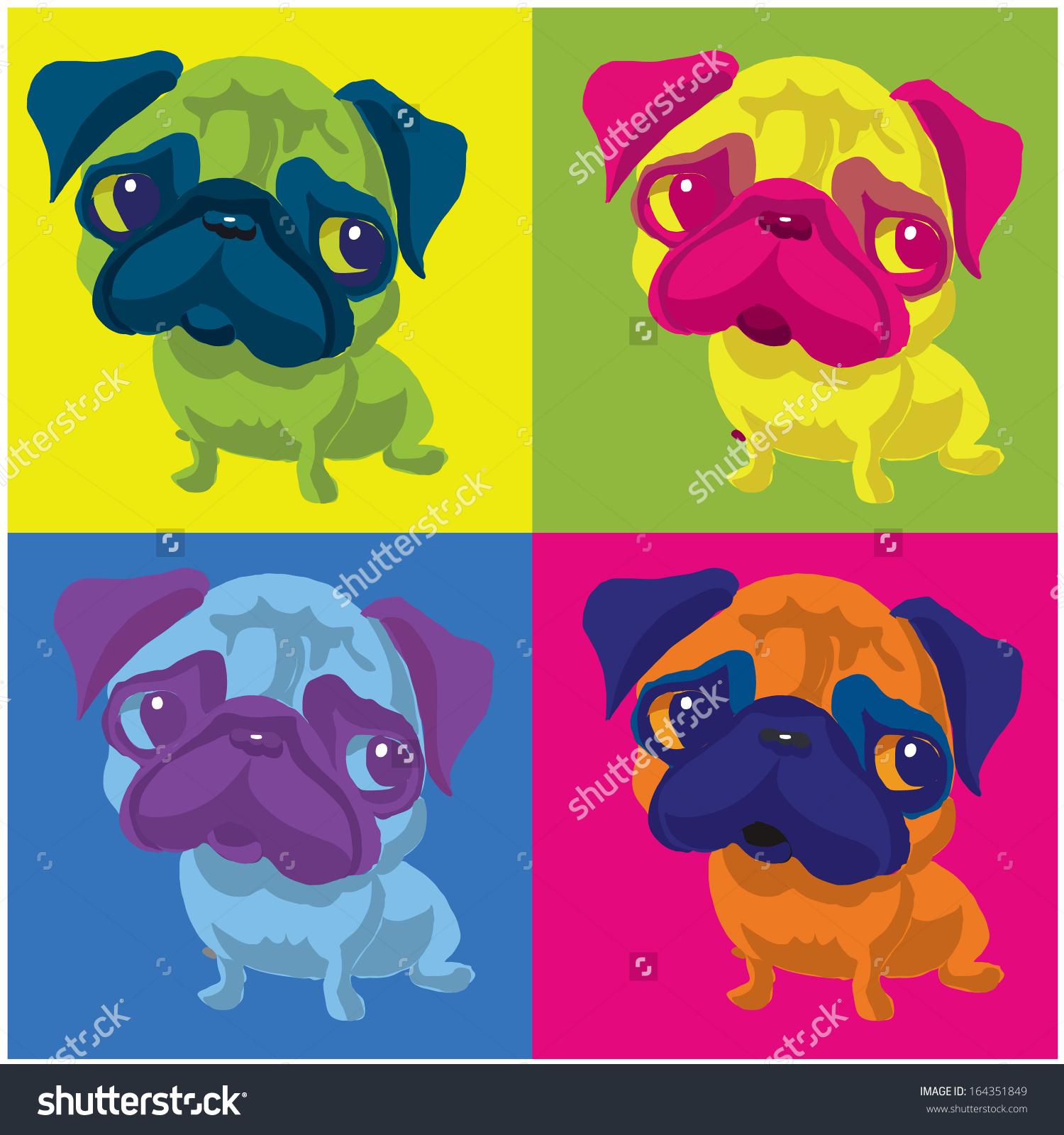 Pug Dog Andy Warhol Style Stock Vector 164351849.