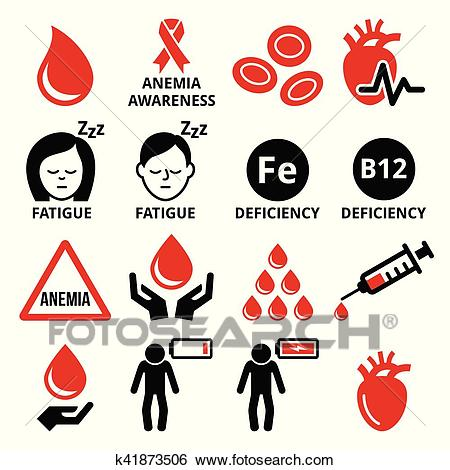 Blood, anemia, human health icons set Clip Art.