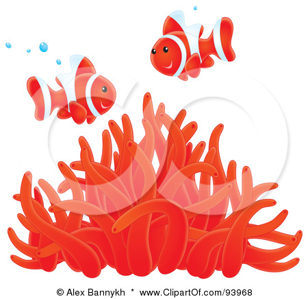 Clownfish and sea anemone clipart.