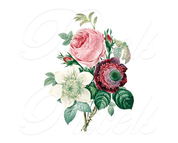 ROSES ANEMONE Bouquet Instant Download, Wedding Images.