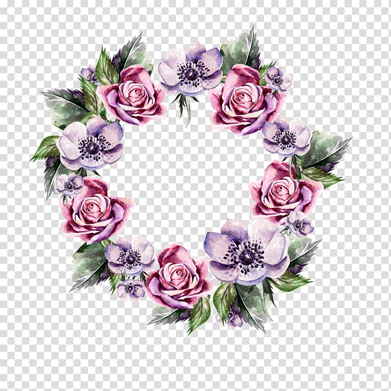 Pink and purple rose and anemone wreath illustration, Flower.