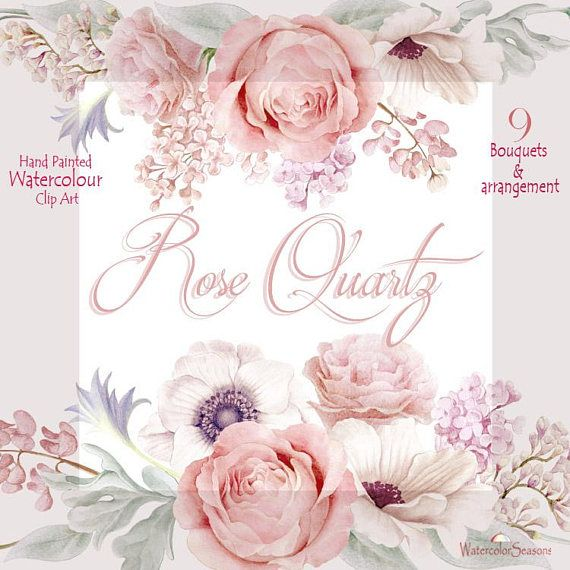 Watercolor Clipart Collection Rose Quartz Wedding bouquets.
