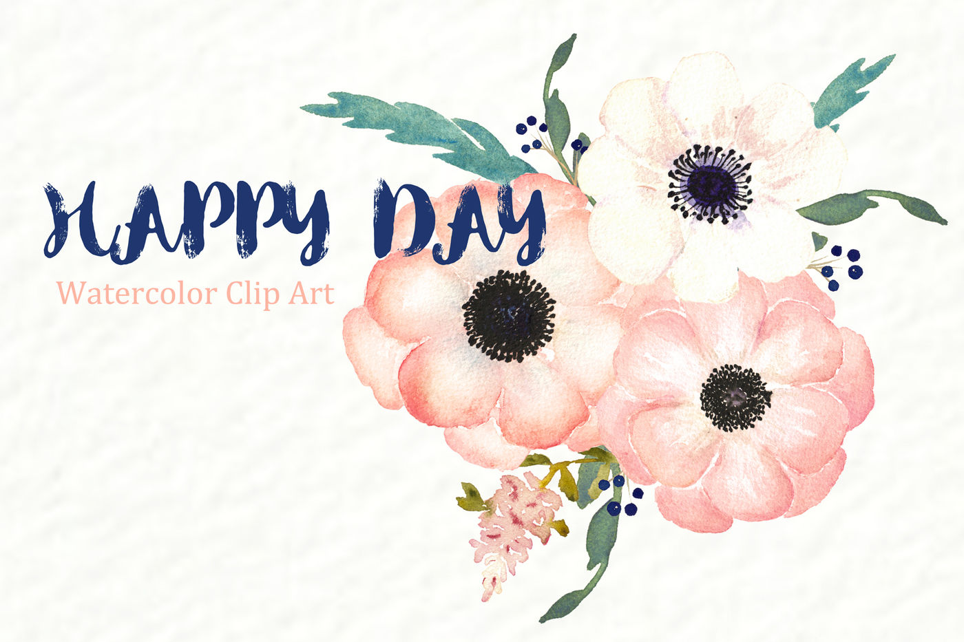 Anemones Apricot. Watercolor Clipart By LABFcreations.