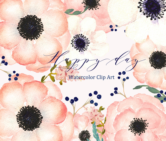 Anemones Apricot. Watercolor Clipart ~ Graphics on Creative.