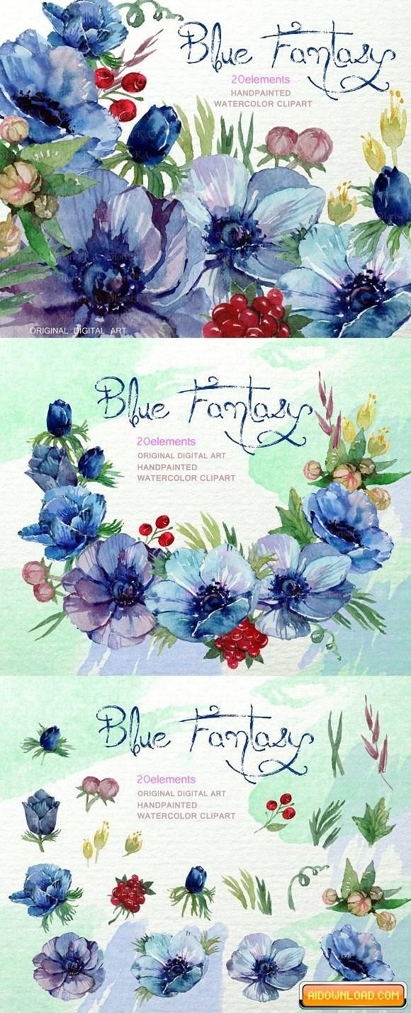 Watercolor Blue Anemone ClipArt F.
