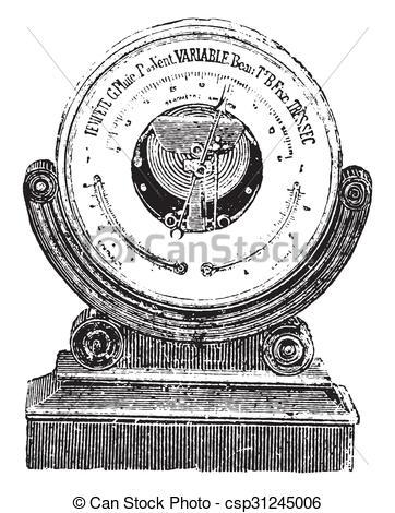 Stock Illustration of Aneroid barometer, vintage engraving.