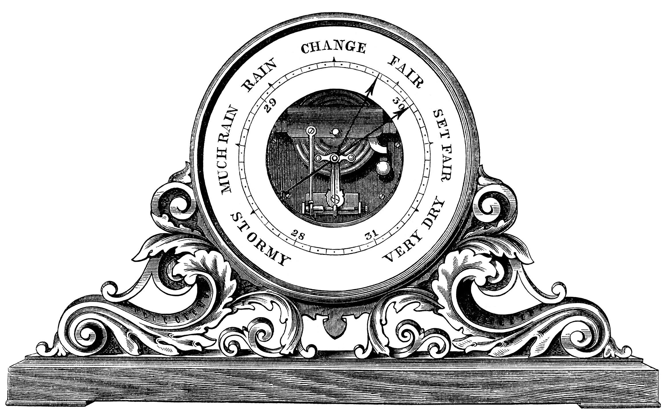 barometer clip art, black and white graphics, vintage barometer.